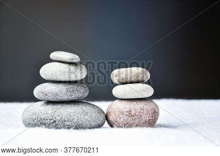 Pebbles Stack, Balance, Pyramid Of Stones For Meditation, Stack Of Zen Stones, Copy Space, Spa Treat