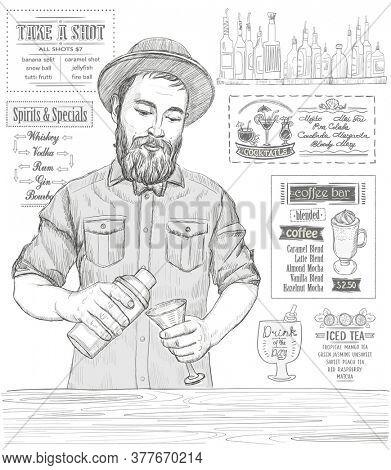 Barmen mixing cocktail, graphic portrait sketch illustration, rasterized version