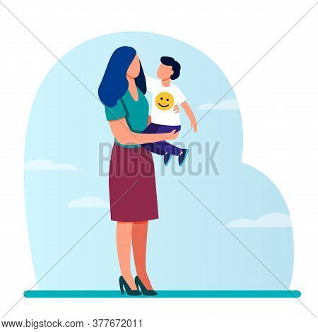 Young Mom Holding Toddler Child In Arms. Mother And Son Standing Outdoors, Hugging Flat Vector Illus