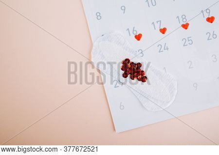 Menstruation Calendar With Daily Sanitary Pads On Pink Background. Woman Critical Days, Woman Hygien