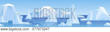 Beautiful Panorama With Natural Arctic Glacier And Floating Iceberg Vector Flat Illustration. Panora