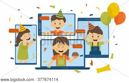 Self Isolation Online Party Concept , Girls And Boys Video Call Celebrate Birthday Party With Friend