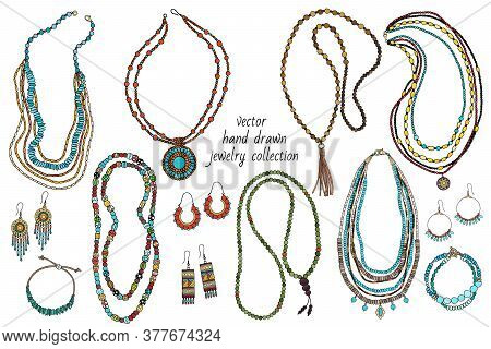 Collection Of Handmade Jewelry: Necklace, Earrings, Bracelets, Beads Hand-drawn Vector