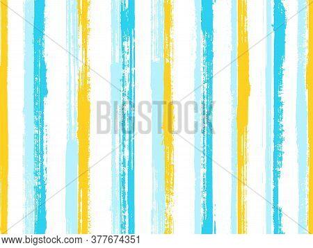 Watercolor Handdrawn Rough Stripes Vector Seamless Pattern. Elegant Swimwear Marine Design. Old Styl
