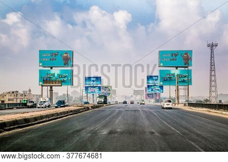 Caikro, Egypt-Jan 31, 2020:  Road billboard at Main Intersection in Cairo, Egypt.