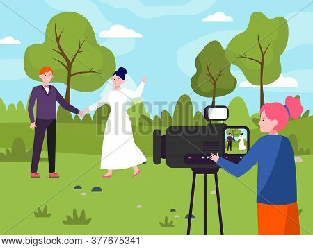 Female Operator Working At Wedding. Camerawoman Filming Just Married Couple Outdoors Scene Flat Vect