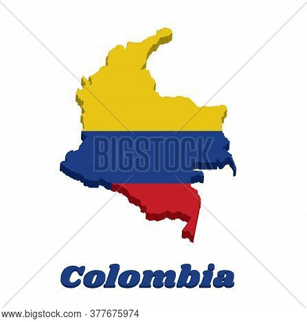 3d Map Outline Of Colombia, A Horizontal Tricolor Of Yellow (double-width), Blue And Red, Text Colom