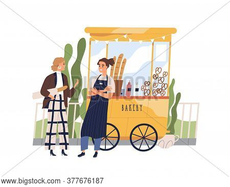 Vendor And Customer Having Friendly Conversation At Bakery Booth Vector Flat Illustration. Guy Selle