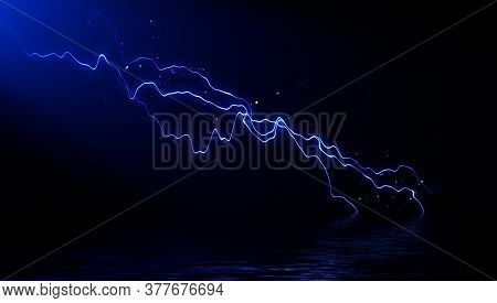Abstract Realistic Blue Nature Lightning Thunder Background . Bright Curved Line On Isolated Texture