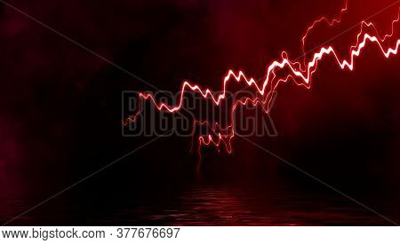 Abstract Realistic Nature Red Lightning Thunder Background . Bright Curved Line On Isolated Texture