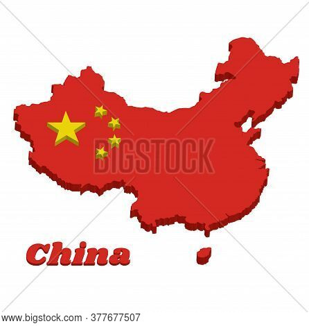 3d Map Outline Of China, A Large Golden Star Within An Arc Of Four Smaller Golden Stars, In The Cant