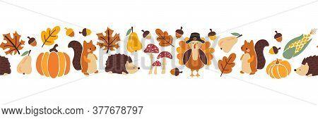 Thanksgiving Animals Kids Vector Border. Seamless Pattern Autumn Leaves Turkey Corn Pumpkin Hedgehog