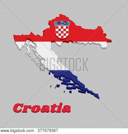 3d Map Outline And Flag Of Croatia, It Is A Horizontal Tricolor Of Red, White, And Blue With The Coa