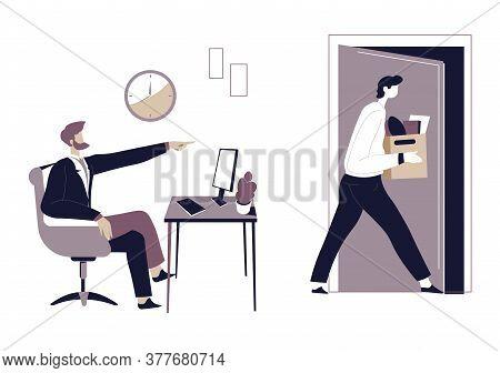Boss Dismissing Employee, Worker Walking Away With Personal Belongings