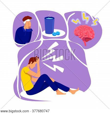 Headache Flat Concept Vector Illustration. Man Suffer From Pain. Medication For Illness. Brain Infla