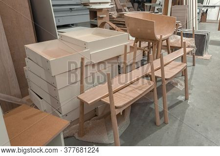 Manufacture Of Wooden Furniture In The Factory. Incomplete Process Of Furniture Production. High Qua