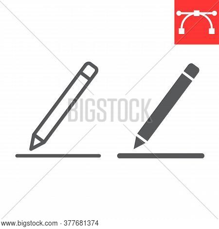 Edit Line And Glyph Icon, Ui And Button, Pen Sign Vector Graphics, Editable Stroke Linear Icon, Eps