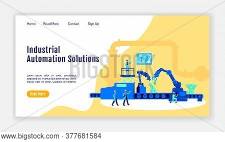 Industrial Automation Solutions Landing Page Flat Color Vector Template. Manufacture Homepage Layout