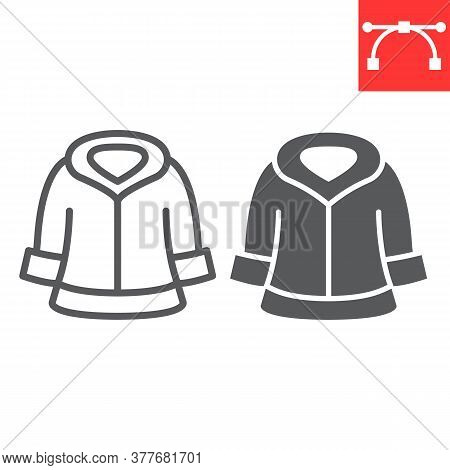 Fur Dry Cleaning Line And Glyph Icon, Dry Cleaning And Wash, Coat Sign Vector Graphics, Editable Str