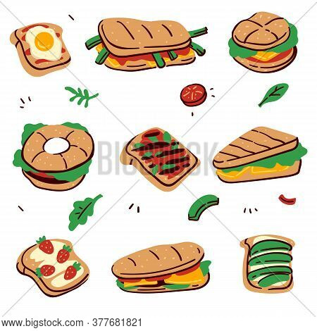 Sandwiches And Desserts With Buns And Fillings Vector