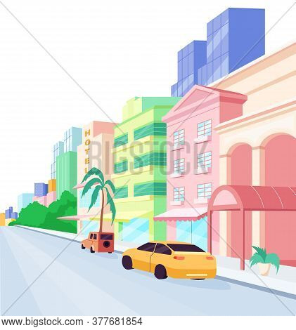 Miami Streets Flat Color Vector Object. Florida Architecture And Lifestyle. Modern Buildings And Lux