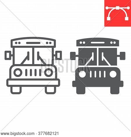 School Bus Line And Glyph Icon, School And Education, Bus Sign Vector Graphics, Editable Stroke Line