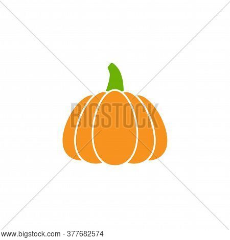 Pumpkin Icon With Green Stem. Orange Gourd Label. Halloween Sticker