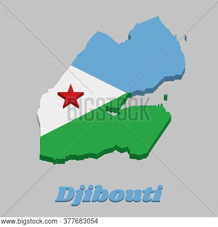 3d Map Outline And Flag Of Djibouti, A Horizontal Bi-color Of Light Blue And Light Green, With A Whi