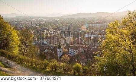 Panoramic View Of Ljubljana, Capital Of Slovenia. Roooftops Of Ljubljanas Old Medieval City Center S