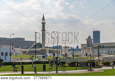 Doha, Qatar - Nov 21. 2019. Al Shouyoukh Mosque And Clock Tower