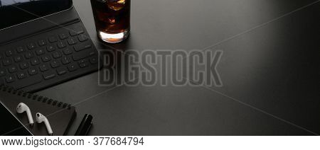 Worktable With Copy Space, Digital Tablet, Supplies And Beverage