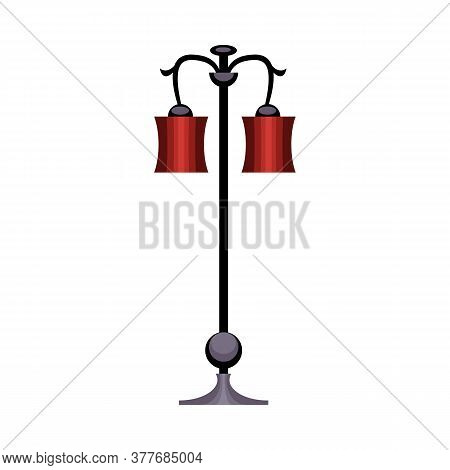 Street Lamp. Metal Pole, Red Lampshades, Lantern. Illustration Can Be Used For Topics Like Streetlig