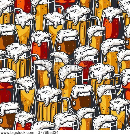 Seamless Pattern Of Beer Mug With Foam For Design