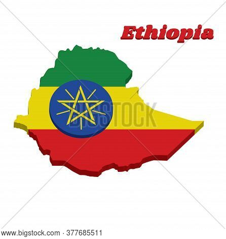 3d Map Outline And Flag Of Ethiopia, A Horizontal Tricolor Of Green Yellow And Red With The National