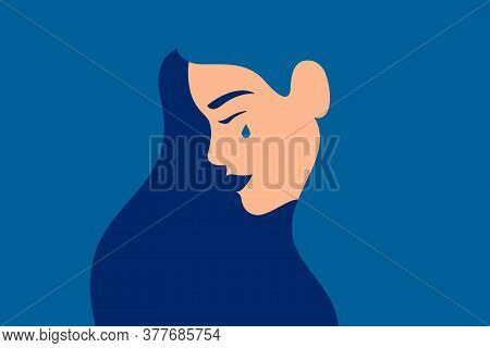 Sad Young Girl Is Crying On A Blue Background. Side View Of Weeping Woman Emotions Grief. Human Char