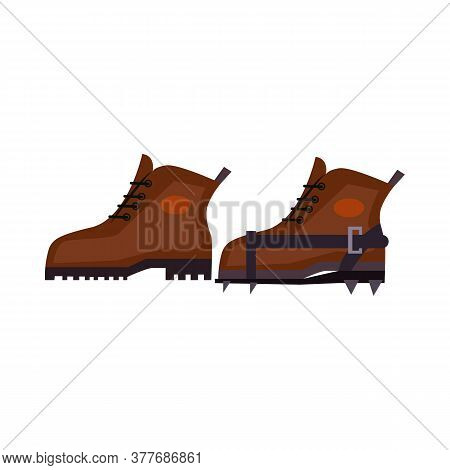 Trekking Boots With Crampons. Spike, Footwear, Equipment. Illustration Can Be Used For Topics Like T