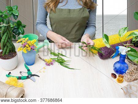 Floristry. Florist At Work. Woman Making Bouquet Of Flowers. Flower Shop.