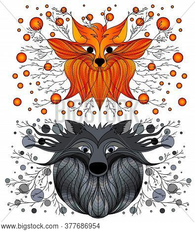 Design Drawing Fox And Wolf. Fairy Figure. Fantastic Drawing Fox And Wolf. Drawing A Line Fox And Wo
