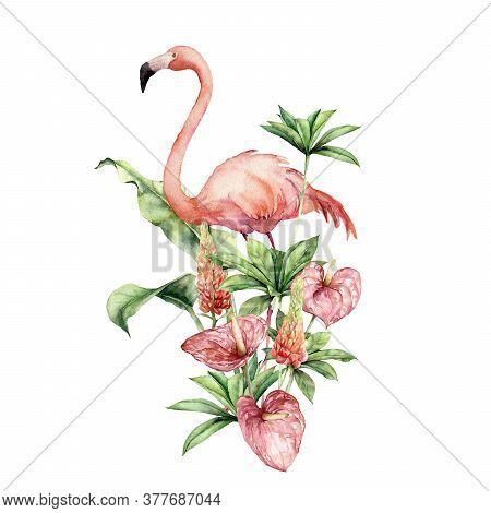 Watercolor Tropical Card With Pink Flamingo, Lupine And Anthurium. Hand Painted Tropical Flowers And