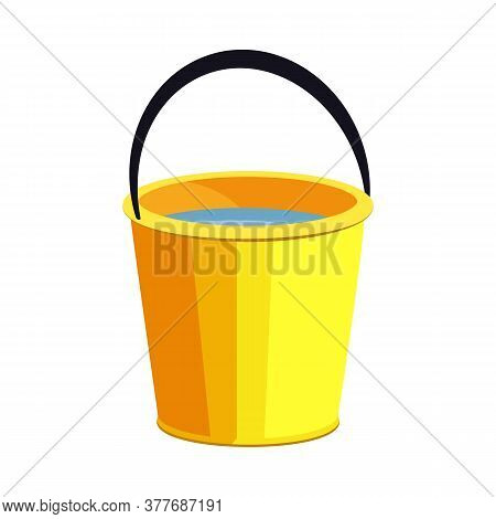 Yellow Bucket Illustration. Basket, Home, Cleaning. Houseware Concept. Illustration Can Be Used For