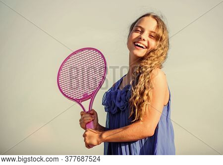 Warming Up. Play Tennis. Childhood Happiness. Healthy Lifestyle. Small Girl With Tennis Racquet. Sum