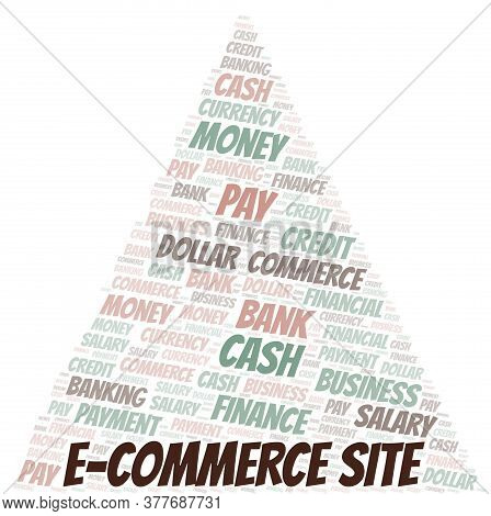 E-commerce Site Typography Vector Word Cloud. Wordcloud Collage Made With The Text Only.