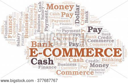 E-commerce Typography Vector Word Cloud. Wordcloud Collage Made With The Text Only.
