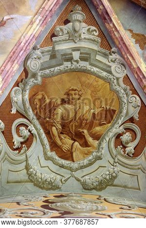 LEPOGLAVA, CROATIA - SEPTEMBER 21: Saint John the Evangelist, fresco in parish Church of the Immaculate Conception of the Virgin Mary in Lepoglava on September 21, 2014