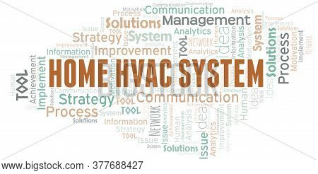 Home Hvac System Typography Vector Word Cloud. Wordcloud Collage Made With The Text Only.