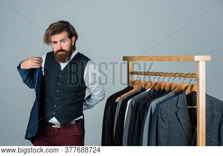 Perfect Design. Man In Boutique. Man With Suit. Tailor In His Workshop. Handsome Bearded Fashion Man