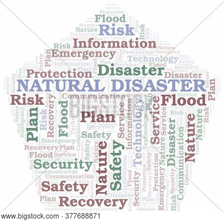 Natural Disaster Typography Vector Word Cloud. Wordcloud Collage Made With The Text Only.