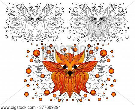 Vector Illustration Of A Fox Head Coloring. Design Drawing Fox