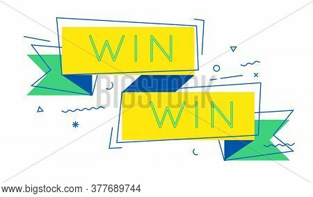 Win-win Ribbon Banner As Metaphor Of Success Strategy, Teamwork And Cooperation. Vector Simple Icon