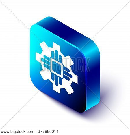 Isometric Processor Icon Isolated On White Background. Cpu, Central Processing Unit, Microchip, Micr
